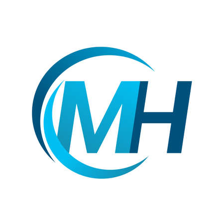 initial letter MH logotype company name blue circle and swoosh design. vector logo for business and company identity. Logó