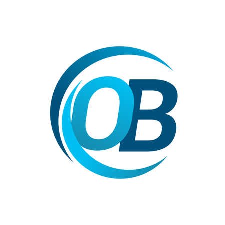 initial letter OB logotype company name blue circle and swoosh design. vector logo for business and company identity.