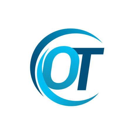 initial letter OT logotype company name blue circle and swoosh design. vector logo for business and company identity. Ilustração
