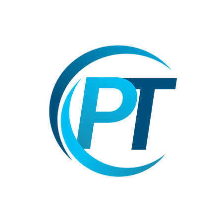 initial letter PT logotype company name blue circle and swoosh design. vector logo for business and company identity.