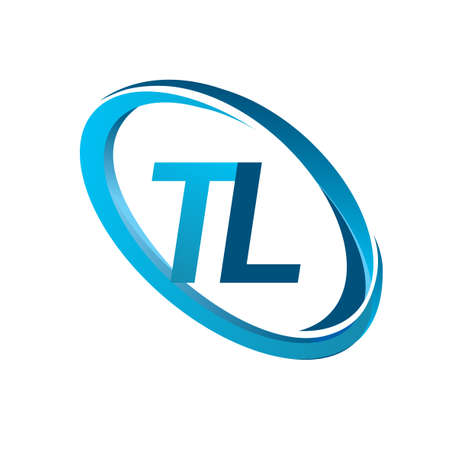 letter TL logotype design for company name colored blue swoosh. vector logo for business and company identity.