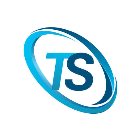 letter TS logotype design for company name colored blue swoosh. vector logo for business and company identity.