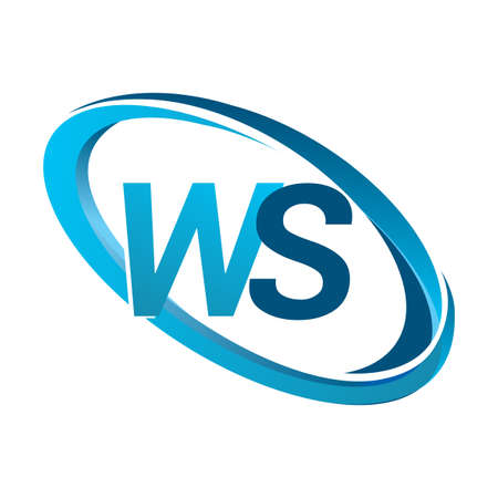 letter WS logotype design for company name colored blue swoosh. vector logo for business and company identity.