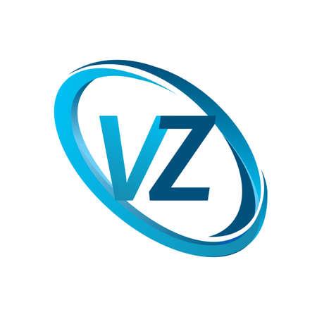letter VZ design for company name colored blue swoosh. vector for business and company identity. Vektoros illusztráció