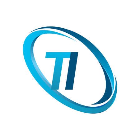 letter TI logotype design for company name colored blue swoosh. vector logo for business and company identity.