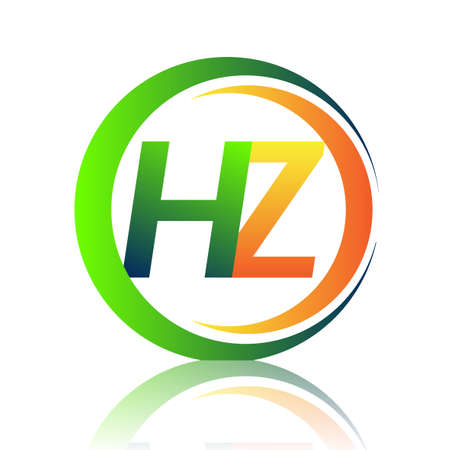 initial letter logo HZ company name green and orange color on circle and swoosh design. vector logotype for business and company identity.