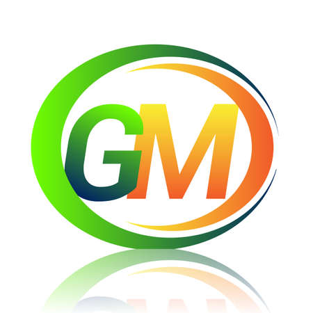 initial letter   GM company name green and orange color on circle and swoosh design. vector   for business and company identity.