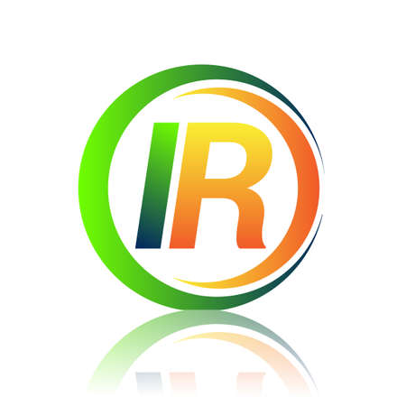 initial letter logo IR company name green and orange color on circle and swoosh design. vector logotype for business and company identity. Ilustrace