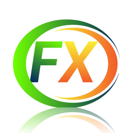 initial letter logo FX company name green and orange color on circle and swoosh design. vector logotype for business and company identity.