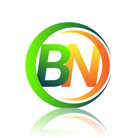 initial letter logo BN company name green and orange color on circle and swoosh design. vector logotype for business and company identity.
