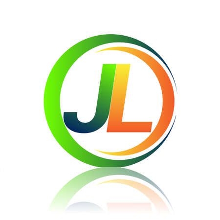 initial letter logo JL company name green and orange color on circle and swoosh design. vector logotype for business and company identity.