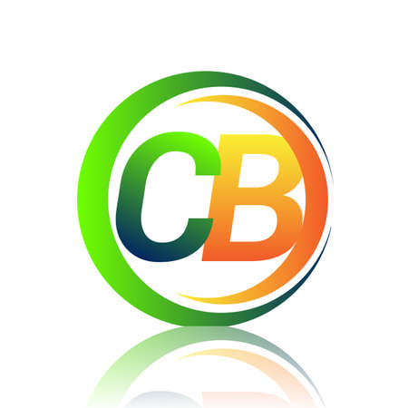 initial letter logo CB company name green and orange color on circle and swoosh design. vector logotype for business and company identity.