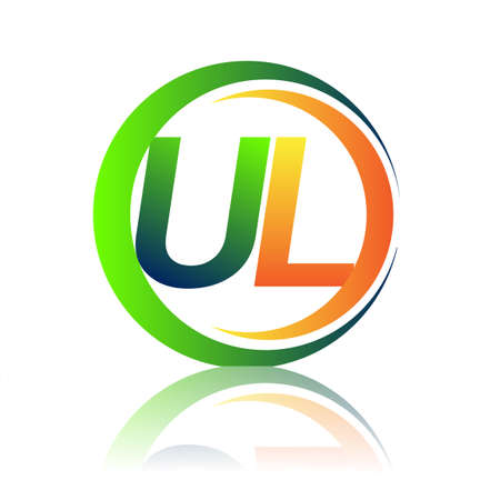 initial letter logo UL company name green and orange color on circle and swoosh design. vector logotype for business and company identity.