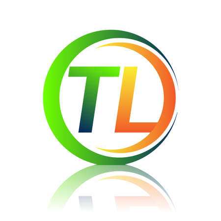 initial letter logo TL company name green and orange color on circle and swoosh design. vector logotype for business and company identity.