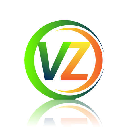 initial letter logo VZ company name green and orange color on circle and swoosh design. vector logotype for business and company identity. Logó