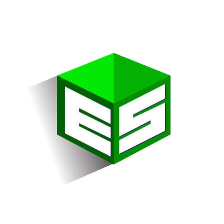 Letter ES logo in hexagon shape and green background, cube logo with letter design for company identity.