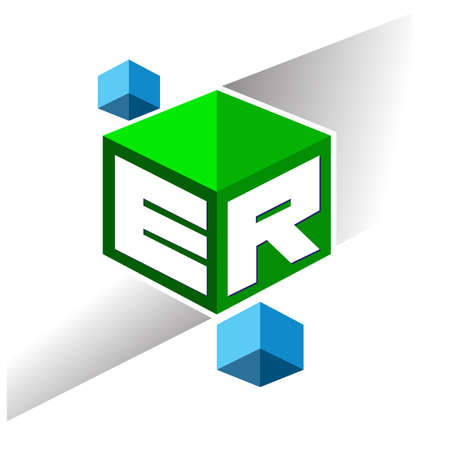 Letter ER logo in hexagon shape and green background, cube logo with letter design for company identity.