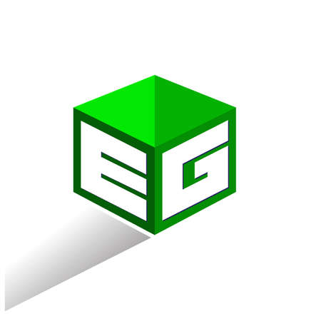 Letter EG logo in hexagon shape and green background, cube logo with letter design for company identity. Logó