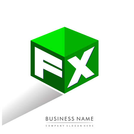 Letter FX logo in hexagon shape and green background, cube logo with letter design for company identity.