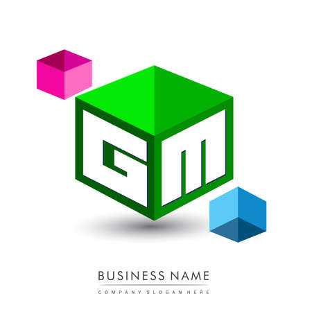 Letter GM logo in hexagon shape and green background, cube logo with letter design for company identity.