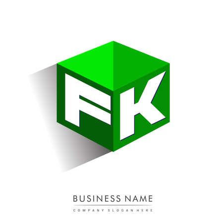 Letter FK logo in hexagon shape and green background, cube logo with letter design for company identity. Logó