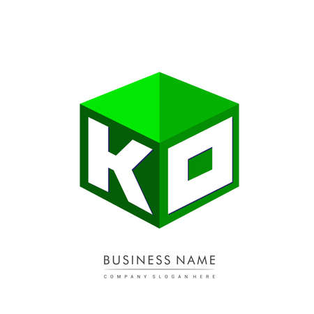 Letter KO logo in hexagon shape and green background, cube logo with letter design for company identity.