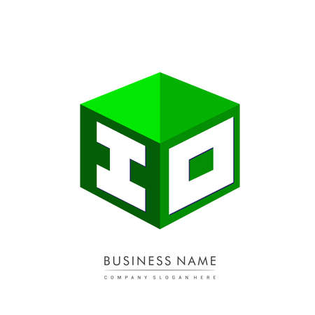 Letter IO in hexagon shape and green background, cube   with letter design for company identity. Ilustração