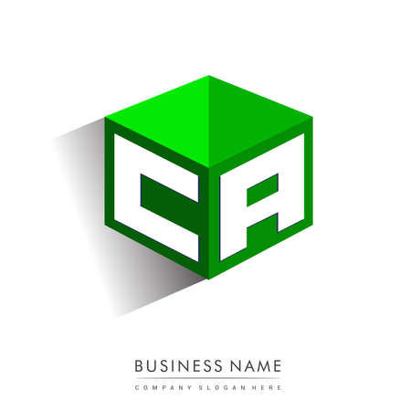 Letter CA logo in hexagon shape and green background, cube logo with letter design for company identity.