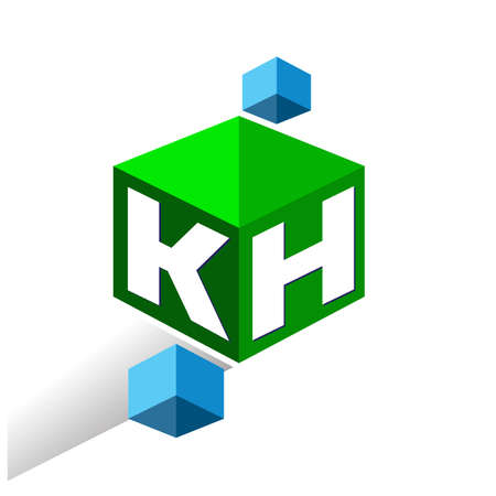 Letter KH   in hexagon shape and green background, cube   with letter design for company identity.