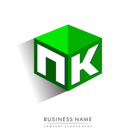 Letter NK logo in hexagon shape and green background, cube logo with letter design for company identity.