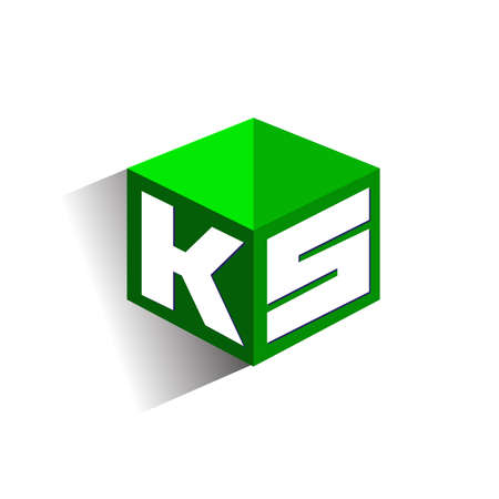 Letter KS logo in hexagon shape and green background, cube logo with letter design for company identity.