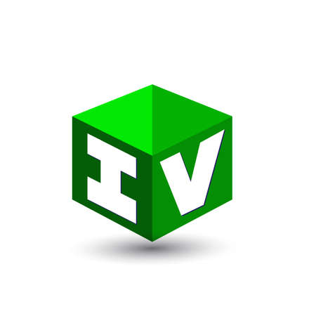 Letter IV in hexagon shape and green background, cube with letter design for company identity.