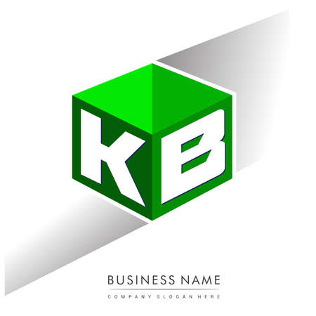 Letter KB in hexagon shape and green background, cube with letter design for company identity.