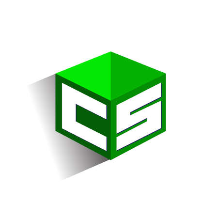 Letter CS logo in hexagon shape and green background, cube logo with letter design for company identity.