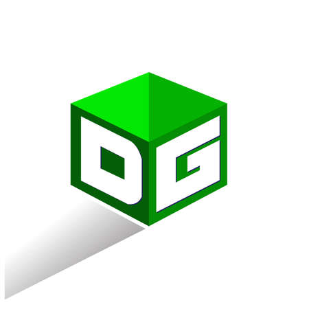 Letter DG logo in hexagon shape and green background, cube logo with letter design for company identity. Illusztráció
