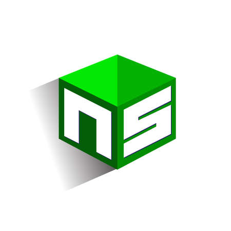 Letter NS logo in hexagon shape and green background, cube logo with letter design for company identity.