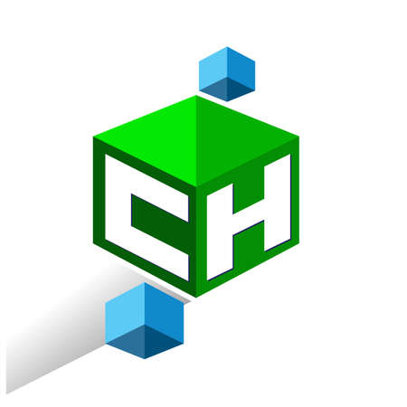 Letter CH logo in hexagon shape and green background, cube logo with letter design for company identity.