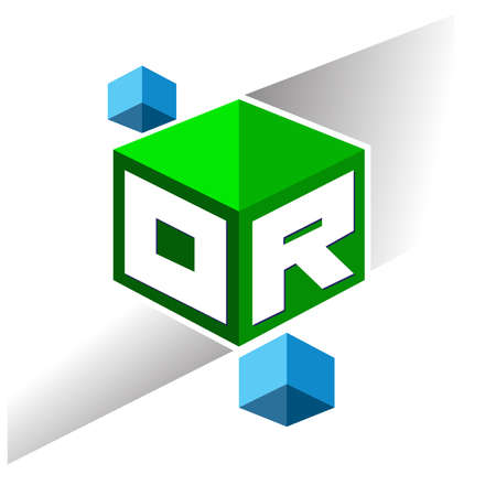 Letter OR logo in hexagon shape and green background, cube logo with letter design for company identity.