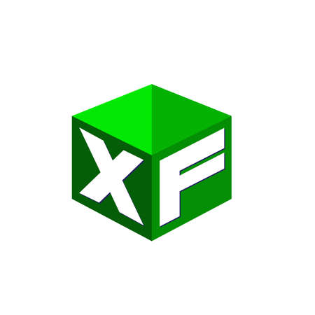 Letter XF logo in hexagon shape and green background, cube logo with letter design for company identity.