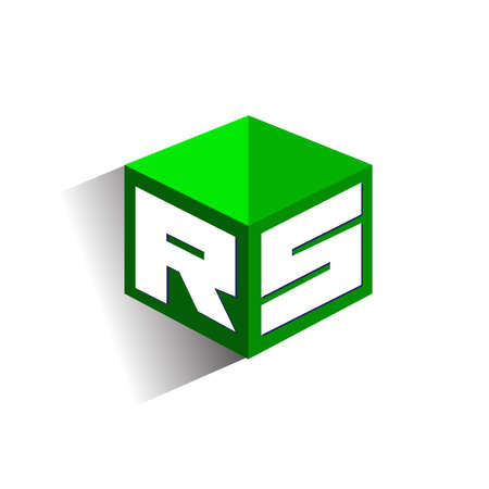 Letter RS logo in hexagon shape and green background, cube logo with letter design for company identity. Logo