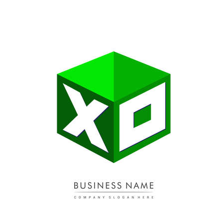 Letter XO logo in hexagon shape and green background, cube logo with letter design for company identity.
