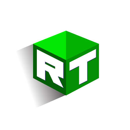 Letter RT logo in hexagon shape and green background, cube logo with letter design for company identity.