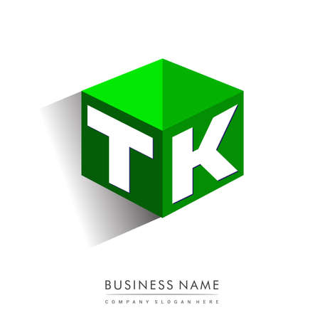 Letter TK logo in hexagon shape and green background, cube logo with letter design for company identity.