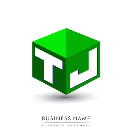Letter TJ logo in hexagon shape and green background, cube logo with letter design for company identity.