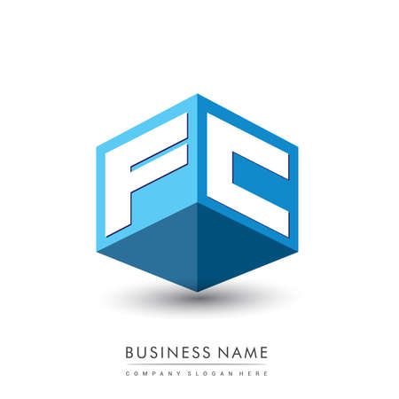 Letter FC logo in hexagon shape and blue background, cube logo with letter design for company identity.