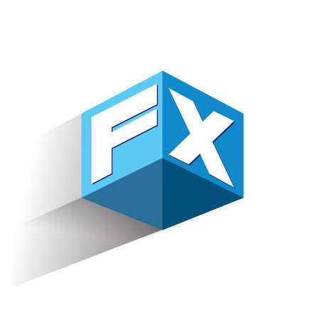 Letter FX logo in hexagon shape and blue background, cube logo with letter design for company identity.