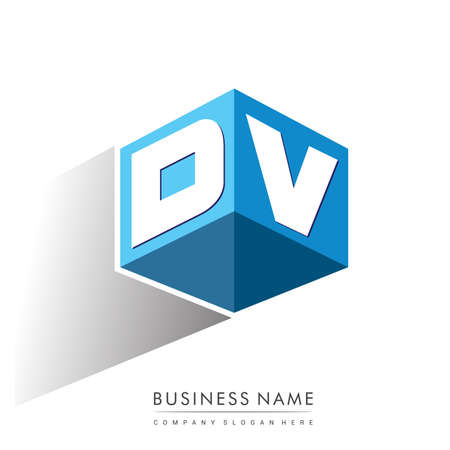 Letter DV logo in hexagon shape and blue background, cube logo with letter design for company identity.