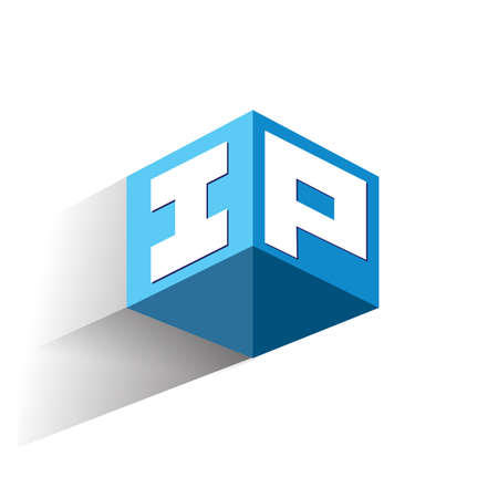 Letter IP in hexagon shape and blue background, cube with letter design for company identity.