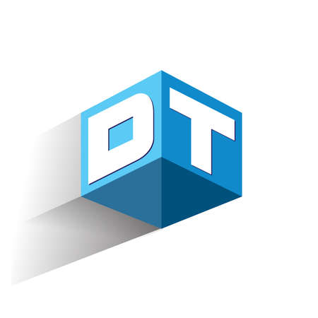 Letter DT logo in hexagon shape and blue background, cube logo with letter design for company identity. Logó