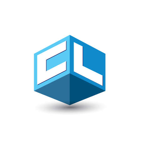 Letter CL logo in hexagon shape and blue background, cube logo with letter design for company identity.